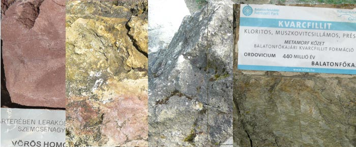 Permi vörös homokkő, tihanyi gejzirit, tufit és balatonfőkajári kvarcfillit